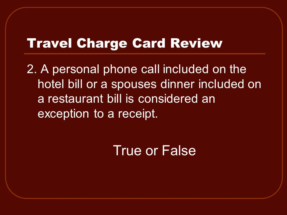 Travel Charge Card Review 2.
