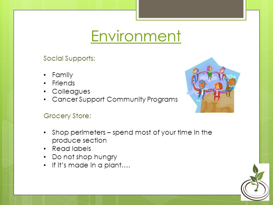 Environment Social Supports: Family Friends Colleagues Cancer Support Community Programs Grocery Store: Shop perimeters – spend most of your time in the produce section Read labels Do not shop hungry If its made in a plant….