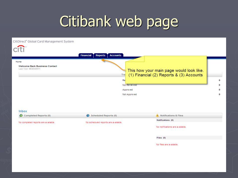 Citibank web page