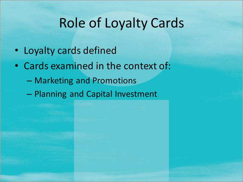Recommendations and Conclusion Report ends with recommendations around the key sections Concludes with a consideration of industry best practice and how independent businesses in market towns may use Loyalty cards to remain competitive.
