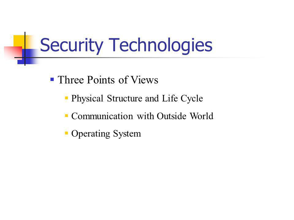 Security Technologies Three Points of Views Physical Structure and Life Cycle Communication with Outside World Operating System