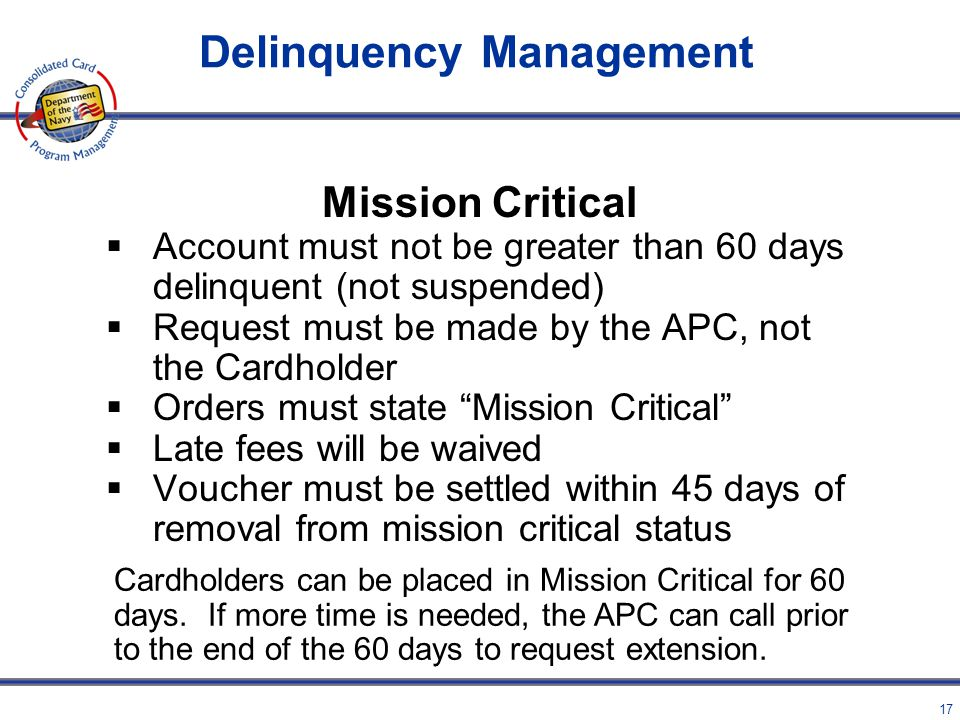 16 Mission Critical Engaged in activity in a remote location that would preclude them from filing an interim voucher – not applicable if on DTS orders