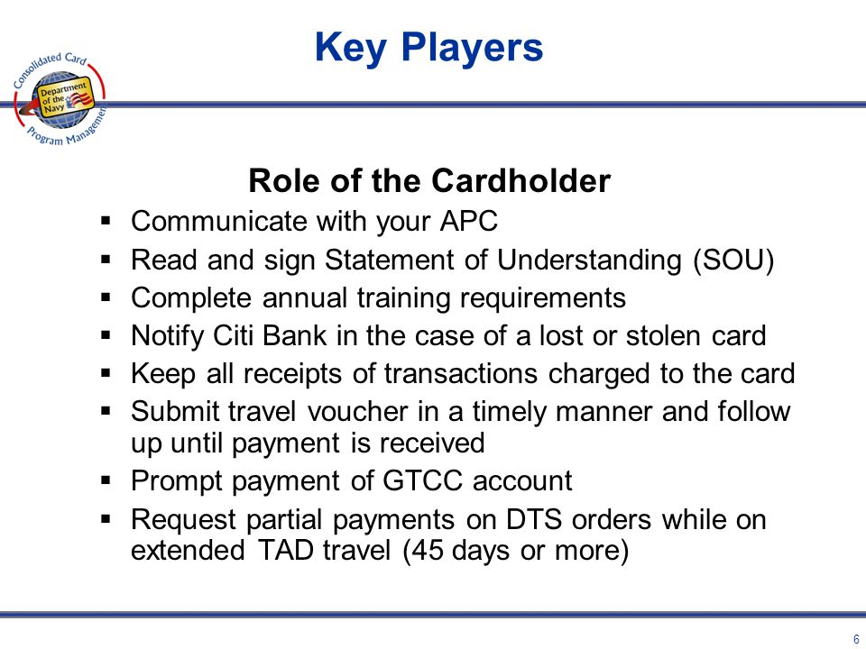 5 Key Players Role of the APC Agency Program Coordinator (APC) is the primary liaison between the Cardholder and the Bank Your APC: Provides applicati