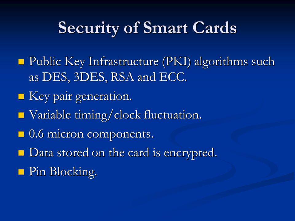Security of Smart Cards Public Key Infrastructure (PKI) algorithms such as DES, 3DES, RSA and ECC.