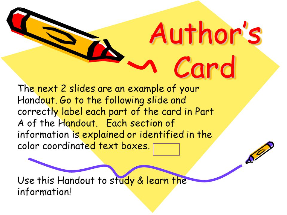 Identifying Parts of an Authors Card Catalog Card Identifying the Different Types of Card Catalog Cards