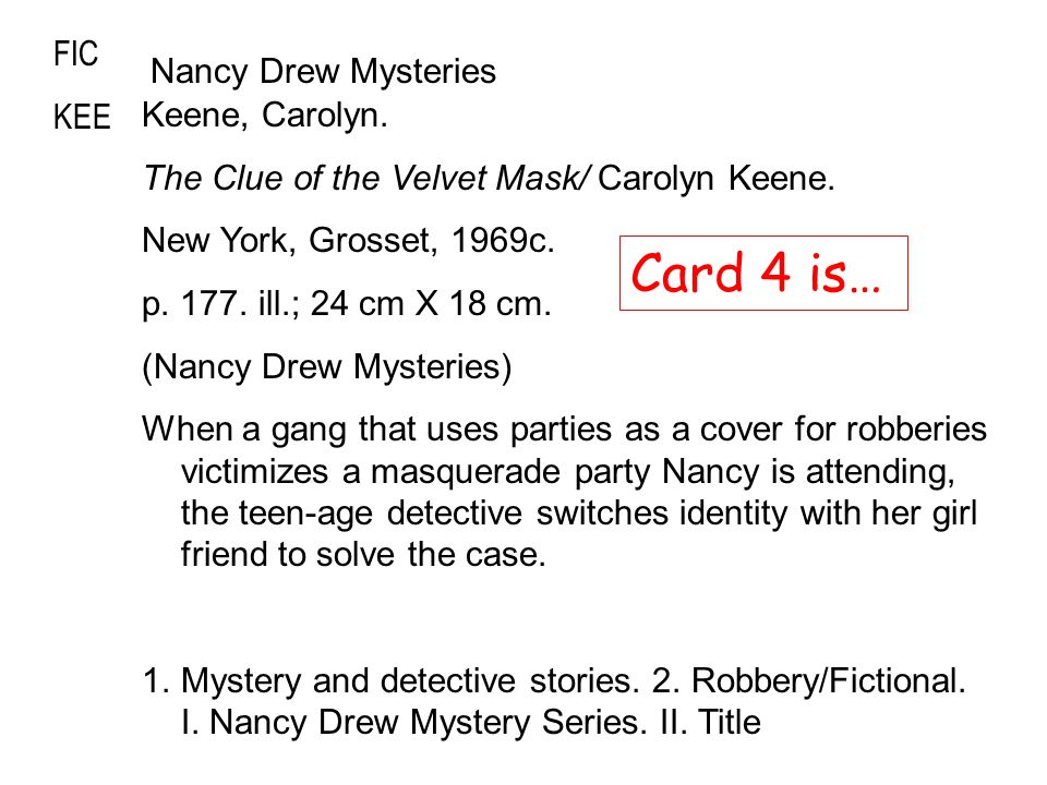 FIC KEE Keene, Carolyn. The Clue of the Velvet Mask/ Carolyn Keene.