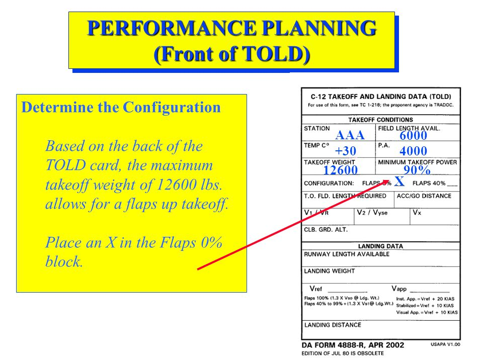 PERFORMANCE PLANNING (Front of TOLD) Determine the Configuration Based on the back of the TOLD card, the maximum takeoff weight of 12600 lbs. allows f