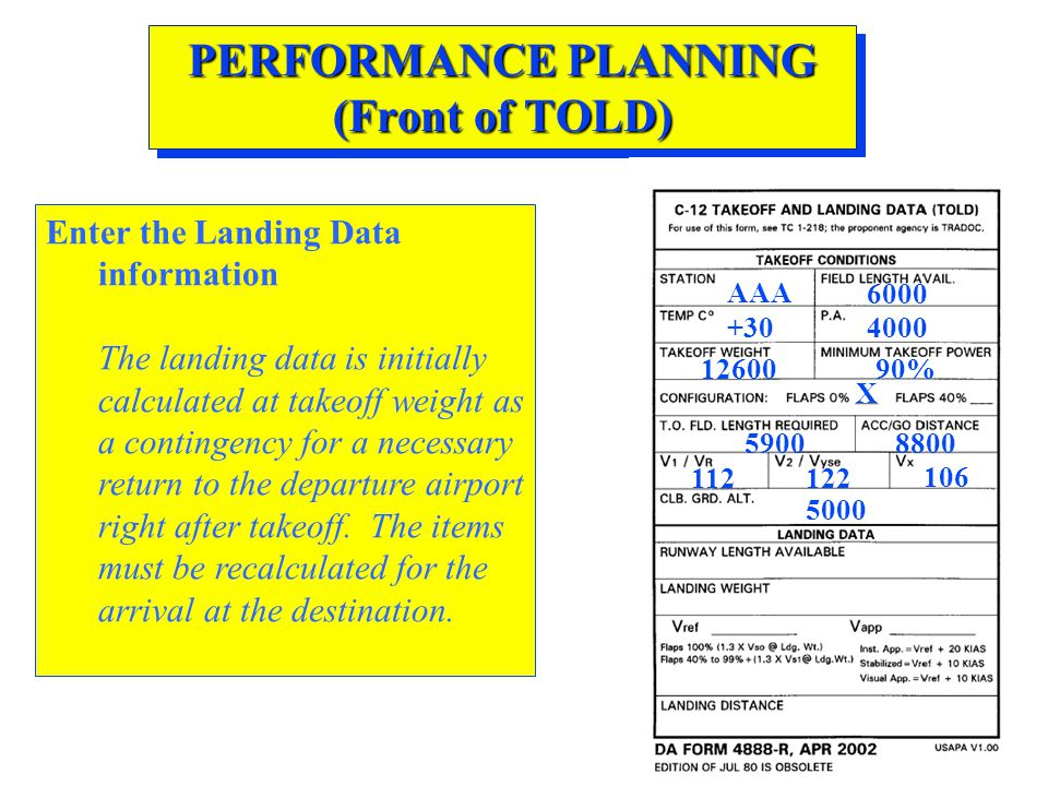 PERFORMANCE PLANNING (Front of TOLD) Enter the Landing Data information The landing data is initially calculated at takeoff weight as a contingency fo