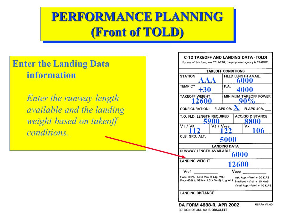 PERFORMANCE PLANNING (Front of TOLD) Enter the Landing Data information Enter the runway length available and the landing weight based on takeoff cond