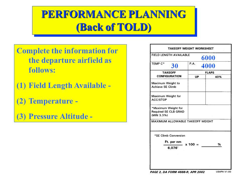 PERFORMANCE PLANNING (Back of TOLD) Complete the information for the departure airfield as follows: (1)Field Length Available - (2)Temperature - (3)Pr