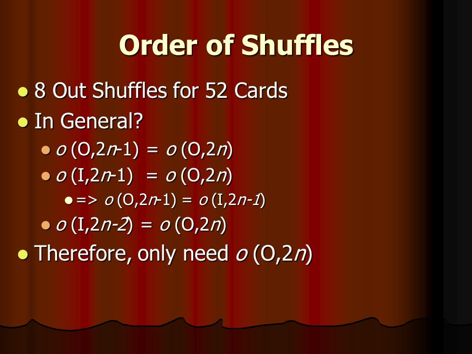 In Shuffles In Shuffles Out Shuffles Out Shuffles Representations for n Cards