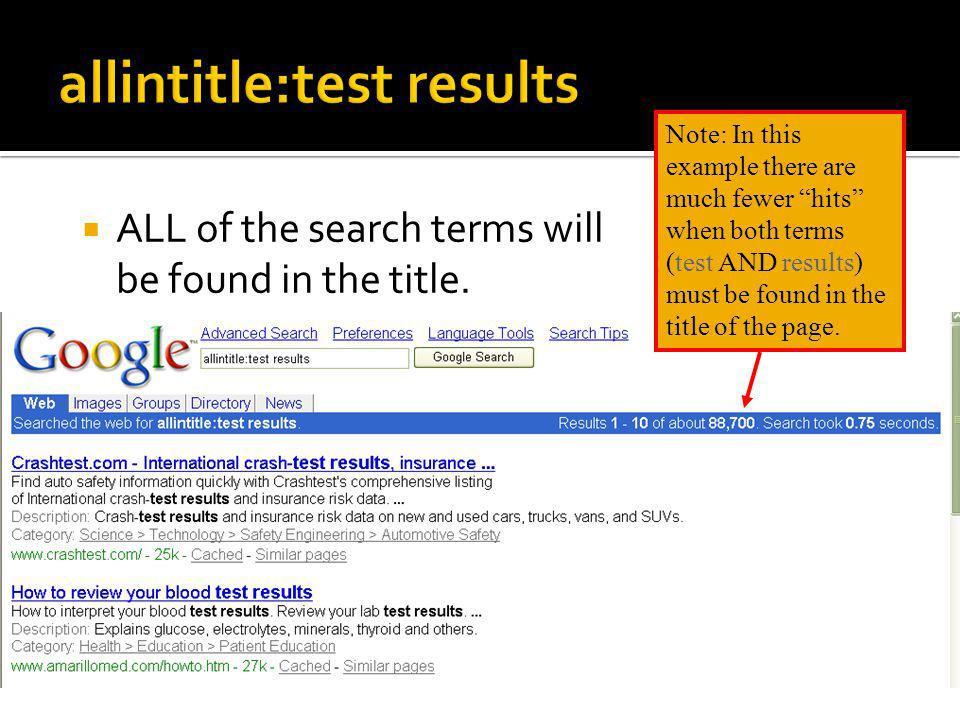 inurl:test results – only test must be found in the web address (URL)