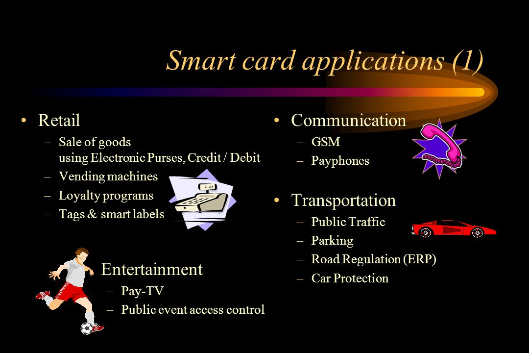 Smart card application areas Communication Entertainment Retail Transportation Health care Government E-commerce E-banking Education Office