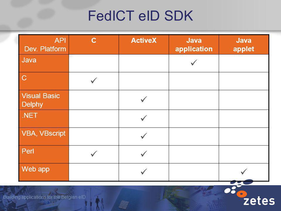 Building applications for the Belgian eID FedICT eID SDK API Dev. Platform CActiveXJava application Java applet Java C Visual Basic Delphy.NET VBA, VB