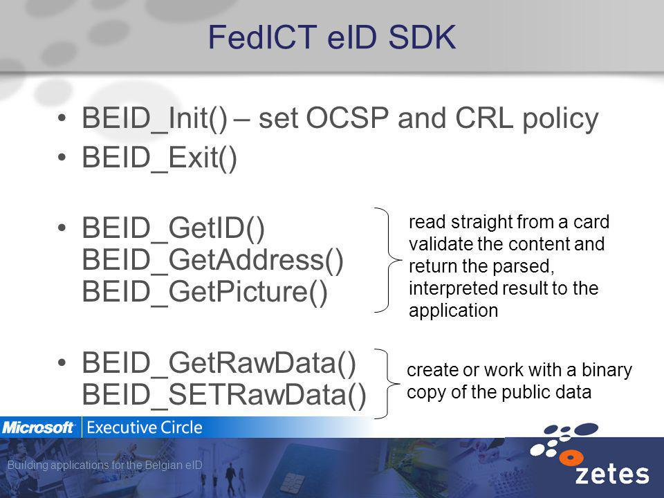 Building applications for the Belgian eID FedICT eID SDK BEID_Init() – set OCSP and CRL policy BEID_Exit() BEID_GetID() BEID_GetAddress() BEID_GetPict