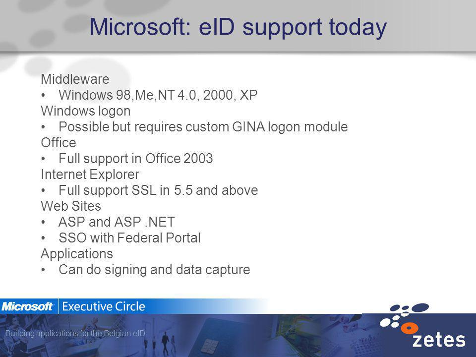 Building applications for the Belgian eID Microsoft: eID support today Middleware Windows 98,Me,NT 4.0, 2000, XP Windows logon Possible but requires custom GINA logon module Office Full support in Office 2003 Internet Explorer Full support SSL in 5.5 and above Web Sites ASP and ASP.NET SSO with Federal Portal Applications Can do signing and data capture