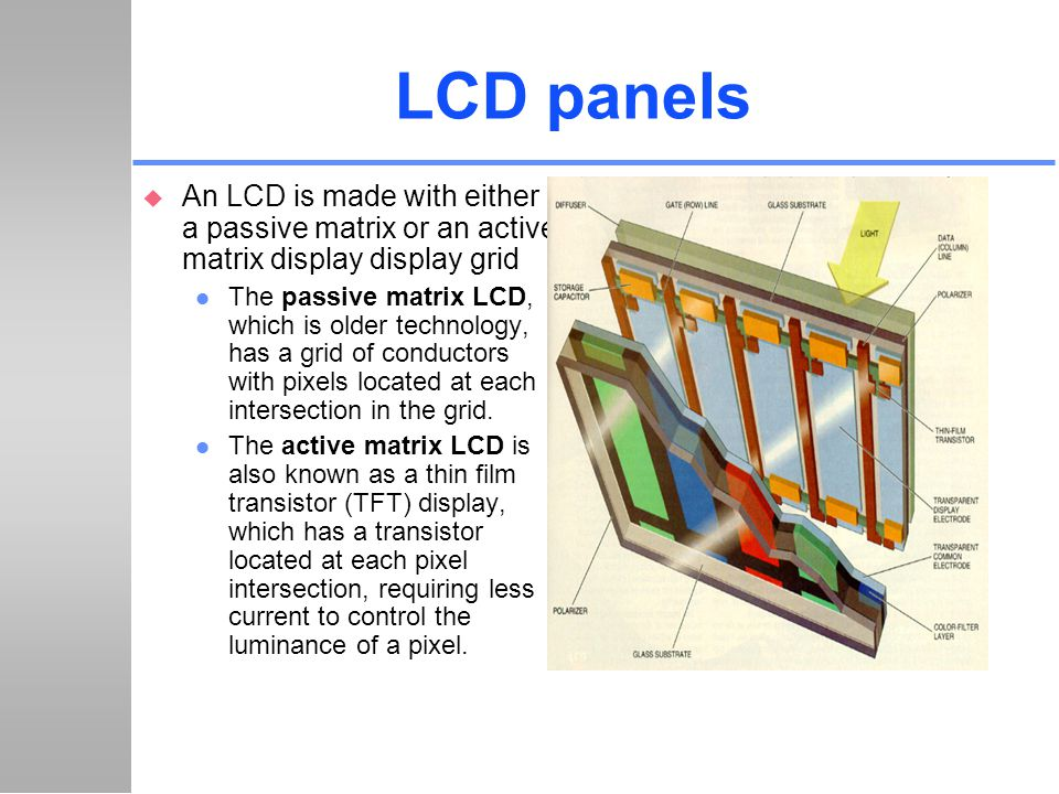 LCD panels u An LCD is made with either a passive matrix or an active matrix display display grid l The passive matrix LCD, which is older technology,
