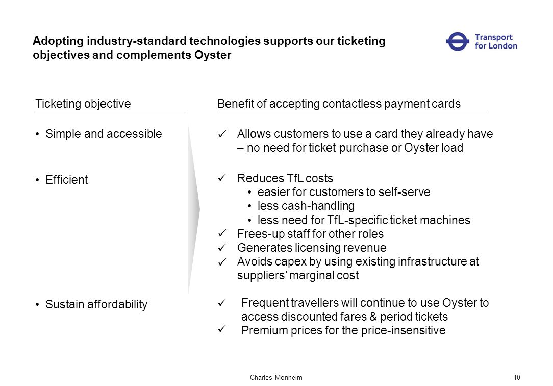 Charles Monheim10 Adopting industry-standard technologies supports our ticketing objectives and complements Oyster Ticketing objectiveBenefit of accepting contactless payment cards Simple and accessibleAllows customers to use a card they already have – no need for ticket purchase or Oyster load Efficient Reduces TfL costs easier for customers to self-serve less cash-handling less need for TfL-specific ticket machines Frees-up staff for other roles Generates licensing revenue Avoids capex by using existing infrastructure at suppliers marginal cost Sustain affordability Frequent travellers will continue to use Oyster to access discounted fares & period tickets Premium prices for the price-insensitive