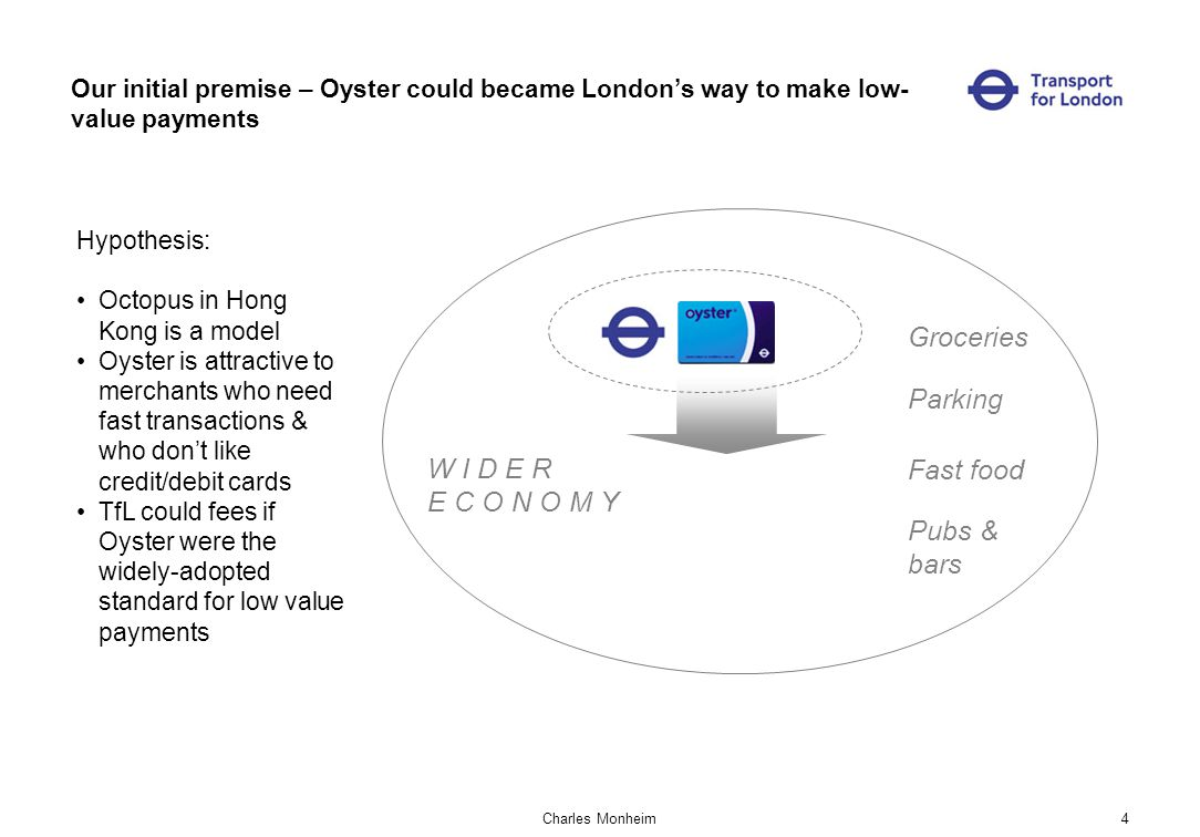 Charles Monheim4 Our initial premise – Oyster could became Londons way to make low- value payments Hypothesis: Octopus in Hong Kong is a model Oyster is attractive to merchants who need fast transactions & who dont like credit/debit cards TfL could fees if Oyster were the widely-adopted standard for low value payments W I D E R E C O N O M Y Parking Fast food Pubs & bars Groceries