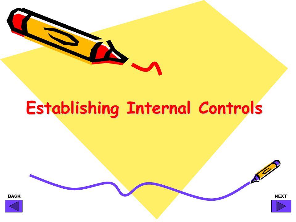 BACKNEXT Establishing Internal Controls
