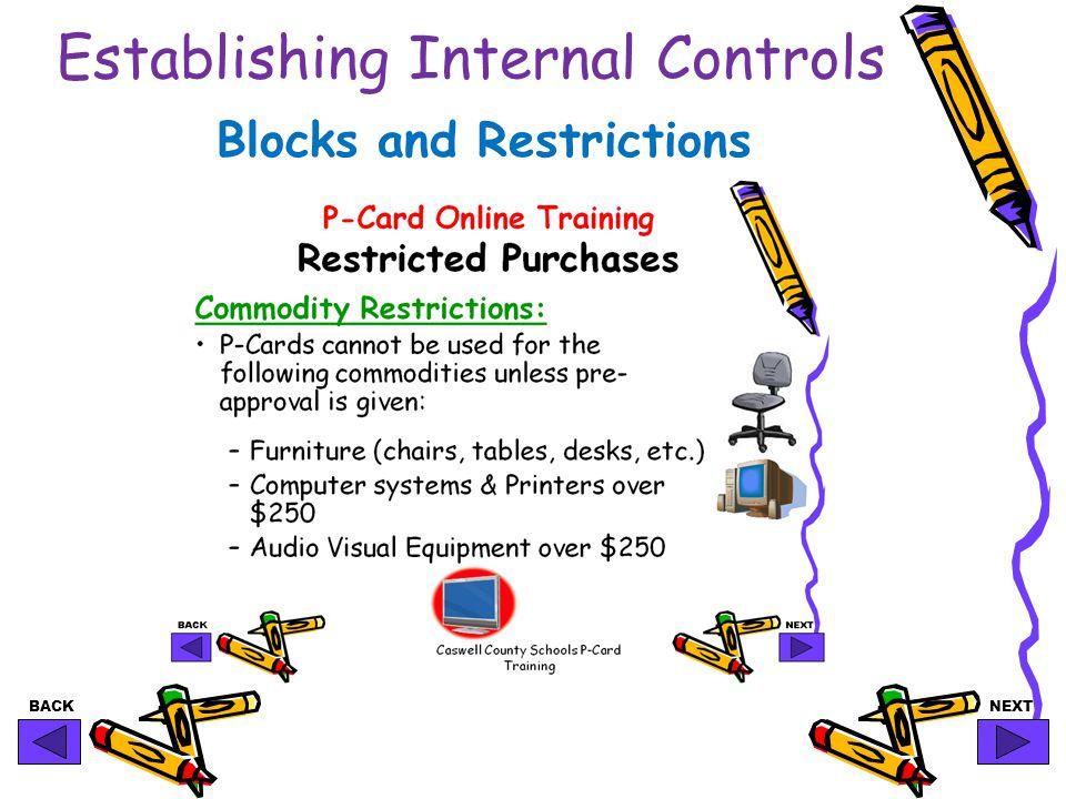 BACKNEXT Establishing Internal Controls Blocks and Restrictions