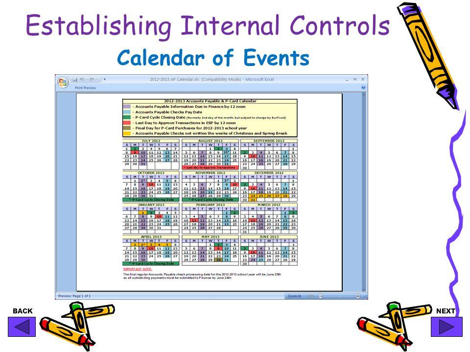 BACKNEXT Establishing Internal Controls Calendar of Events
