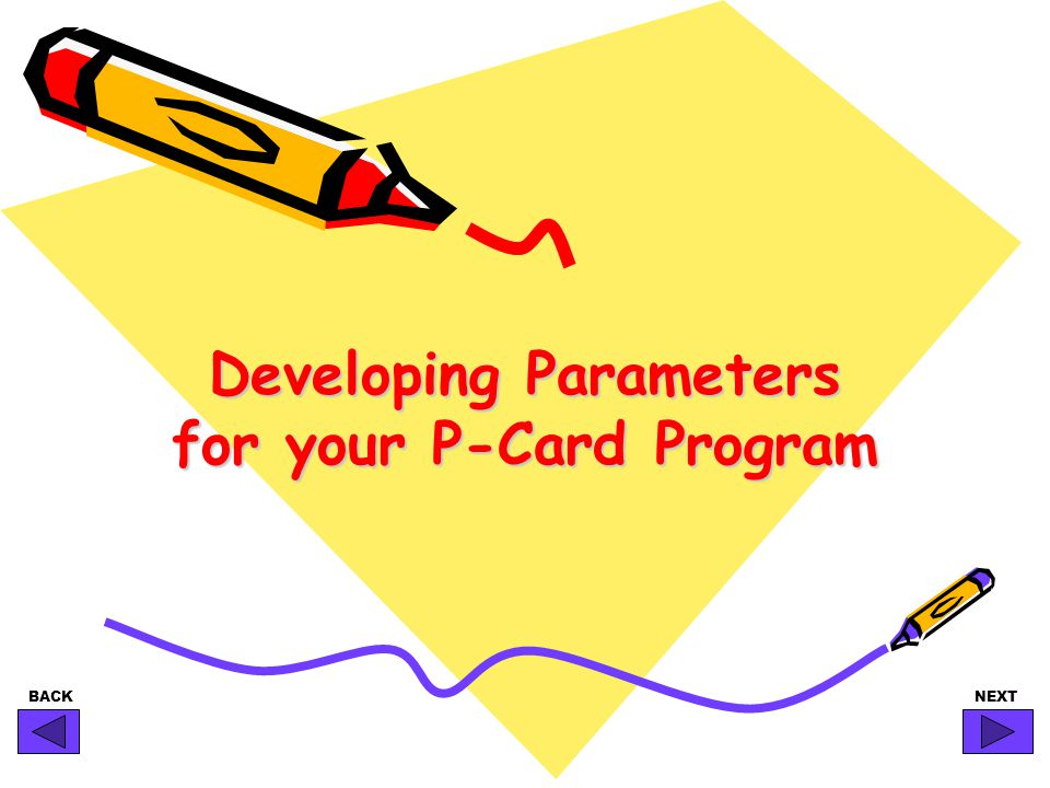 BACKNEXT Developing Parameters for your P-Card Program