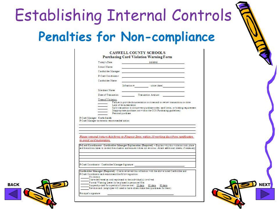BACKNEXT Establishing Internal Controls Penalties for Non-compliance
