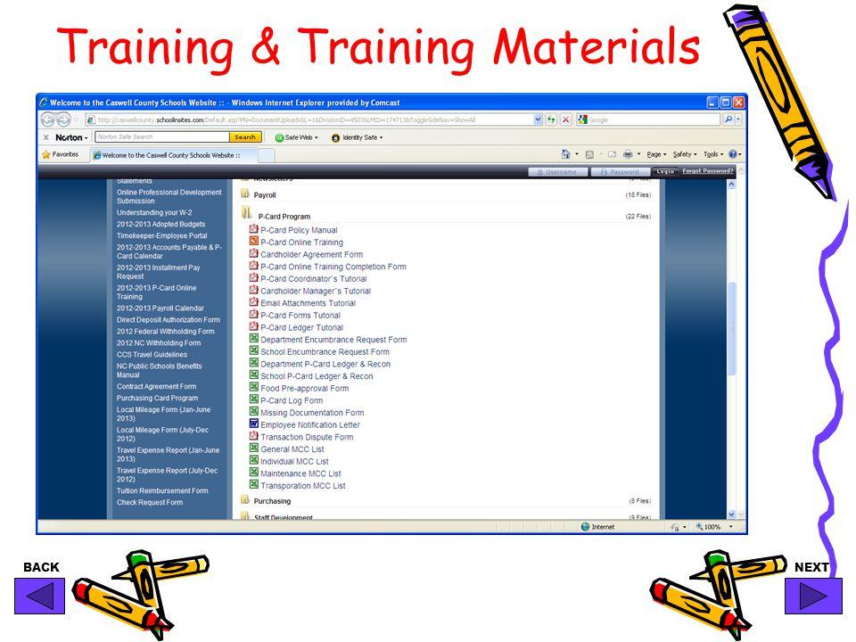 BACKNEXT Training & Training Materials