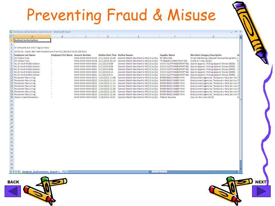 BACKNEXT Preventing Fraud & Misuse