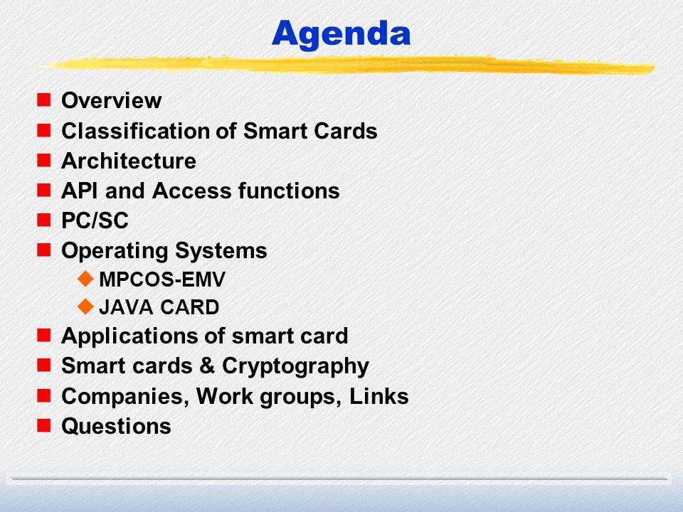 Java Card Architecture Microprocessor + Memory + I/O Native layer Java Card 2.1 VM Java Card 2.1 API Card Manager Pure Java Card.