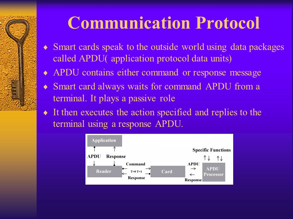 Communication Protocol Smart cards speak to the outside world using data packages called APDU( application protocol data units) APDU contains either c