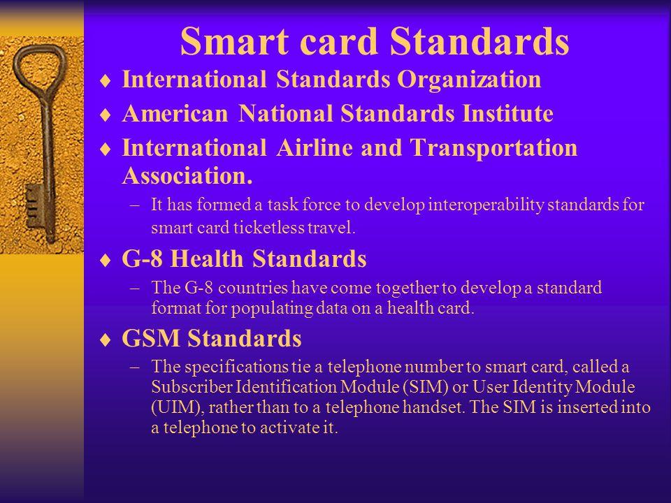 Smart card Standards International Standards Organization American National Standards Institute International Airline and Transportation Association.
