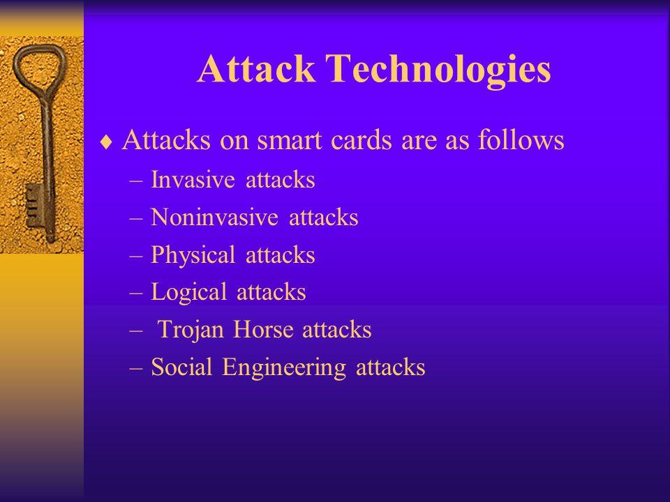 Attack Technologies Attacks on smart cards are as follows –Invasive attacks –Noninvasive attacks –Physical attacks –Logical attacks – Trojan Horse att