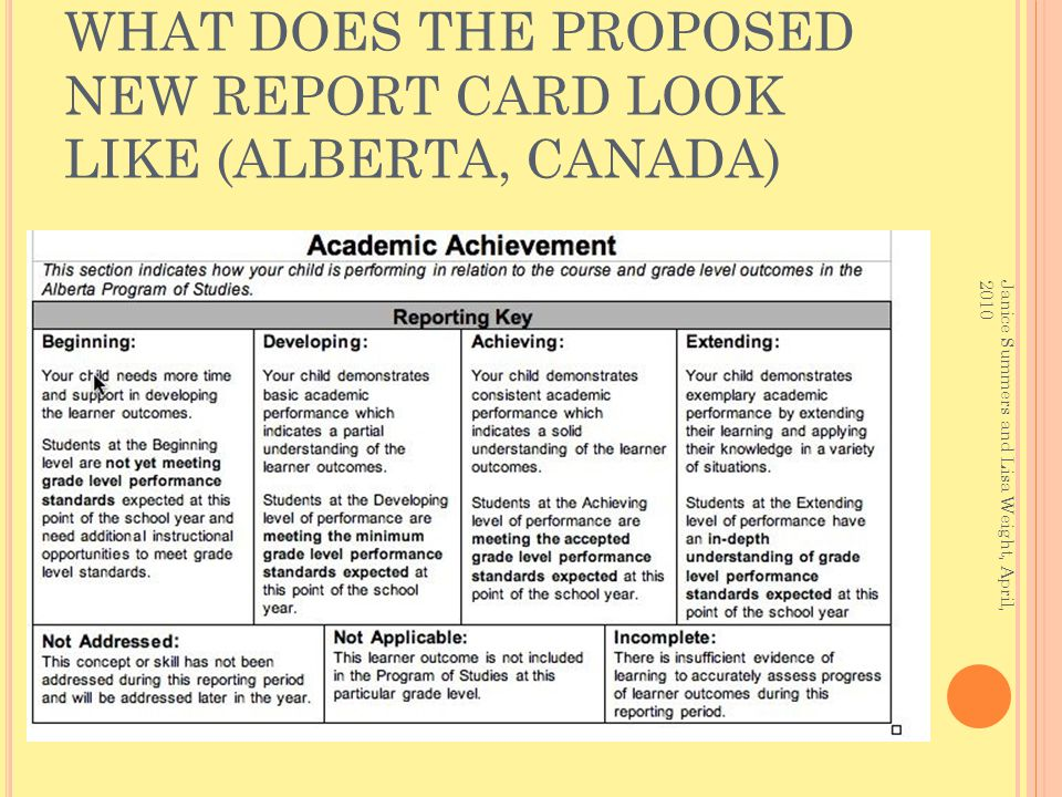 WHAT DOES THE PROPOSED NEW REPORT CARD LOOK LIKE (ALBERTA, CANADA) Janice Summers and Lisa Weight, April, 2010