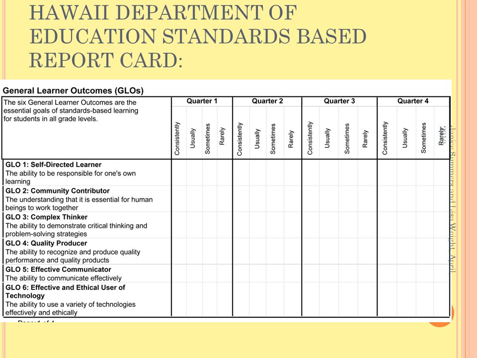 HAWAII DEPARTMENT OF EDUCATION STANDARDS BASED REPORT CARD: Janice Summers and Lisa Weight, April, 2010