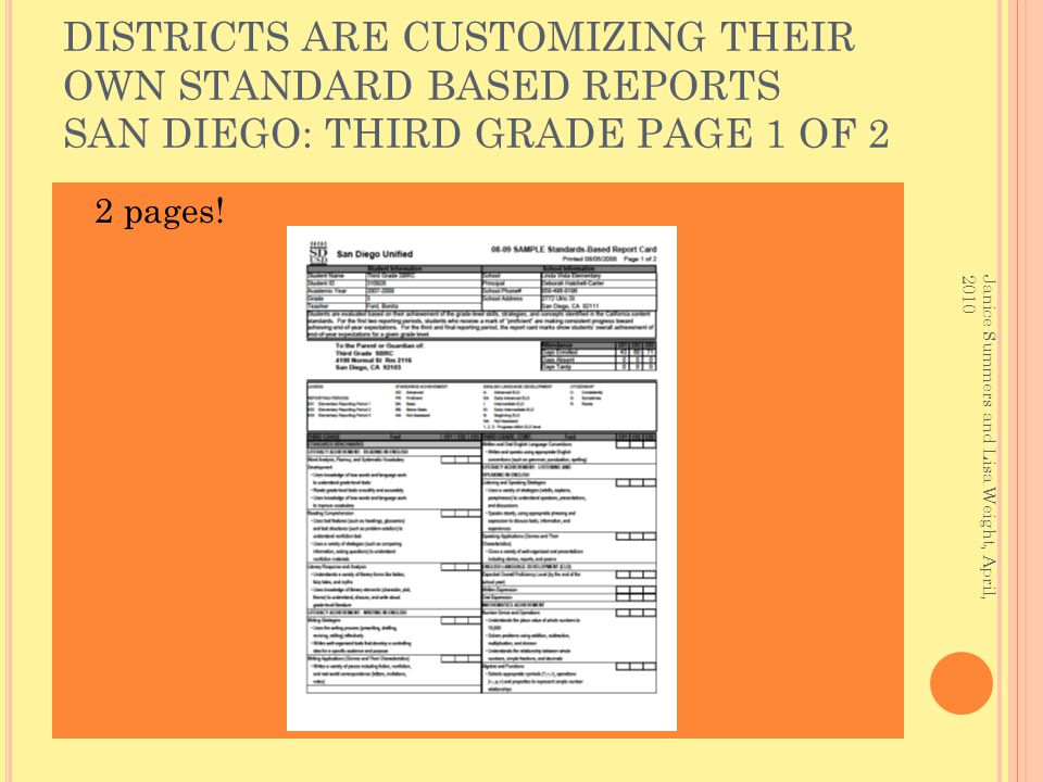 DISTRICTS ARE CUSTOMIZING THEIR OWN STANDARD BASED REPORTS SAN DIEGO: THIRD GRADE PAGE 1 OF 2 2 pages.