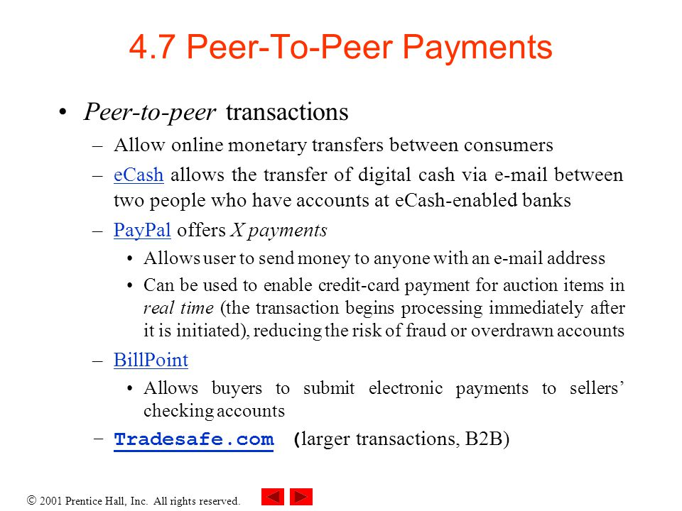 2001 Prentice Hall, Inc. All rights reserved. 4.7 Peer-To-Peer Payments Peer-to-peer transactions –Allow online monetary transfers between consumers –