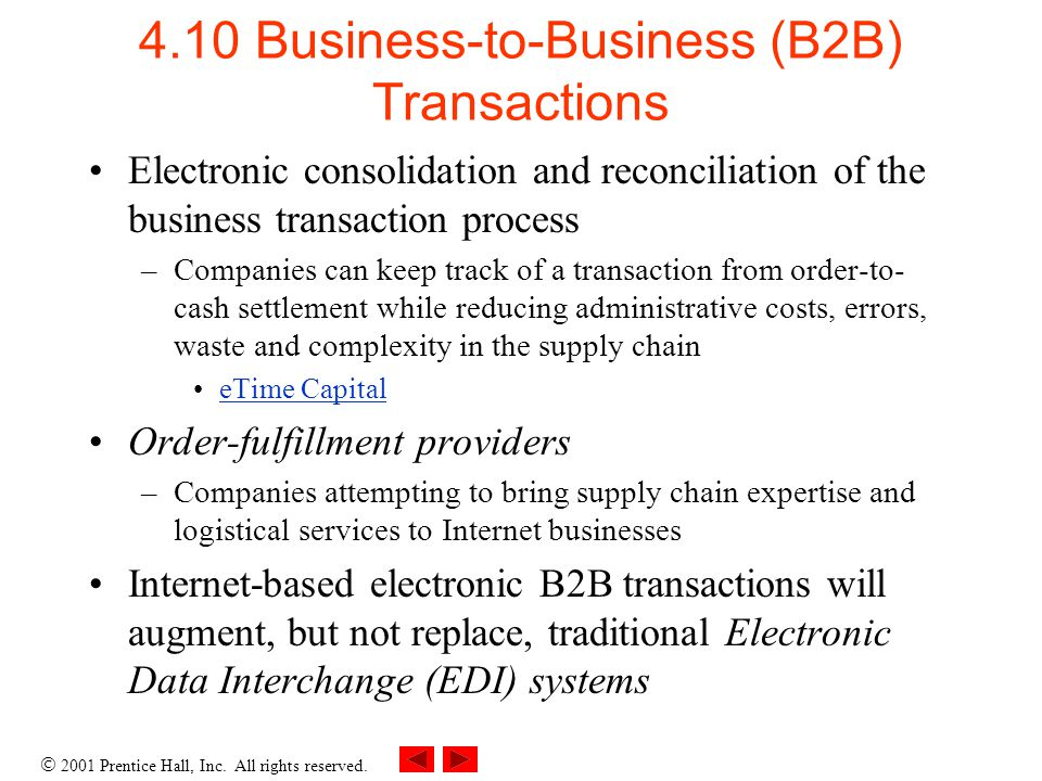 2001 Prentice Hall, Inc. All rights reserved. 4.10 Business-to-Business (B2B) Transactions Electronic consolidation and reconciliation of the business