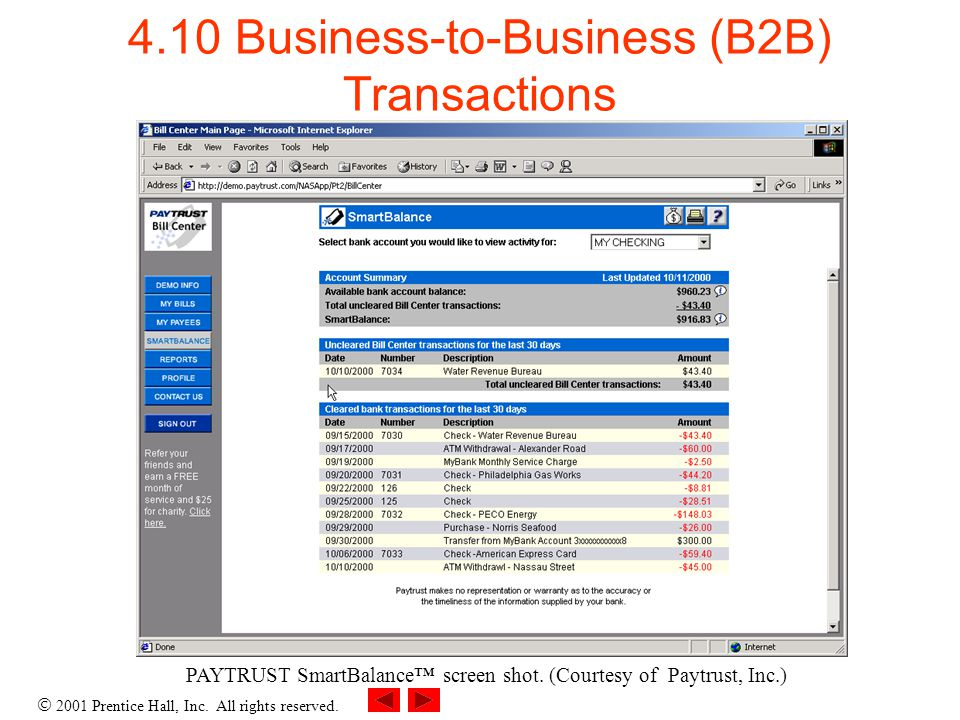 2001 Prentice Hall, Inc. All rights reserved. 4.10 Business-to-Business (B2B) Transactions PAYTRUST SmartBalance screen shot. (Courtesy of Paytrust, I