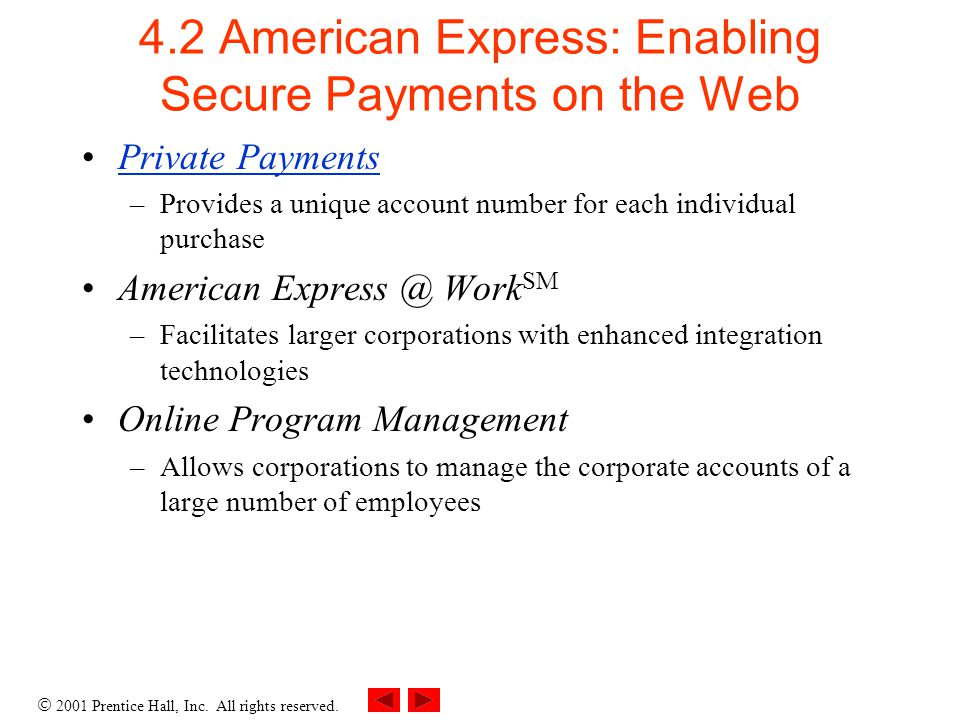2001 Prentice Hall, Inc. All rights reserved. 4.2 American Express: Enabling Secure Payments on the Web Private Payments –Provides a unique account nu