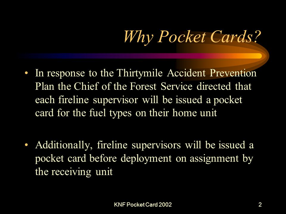 KNF Pocket Card 20022 Why Pocket Cards.