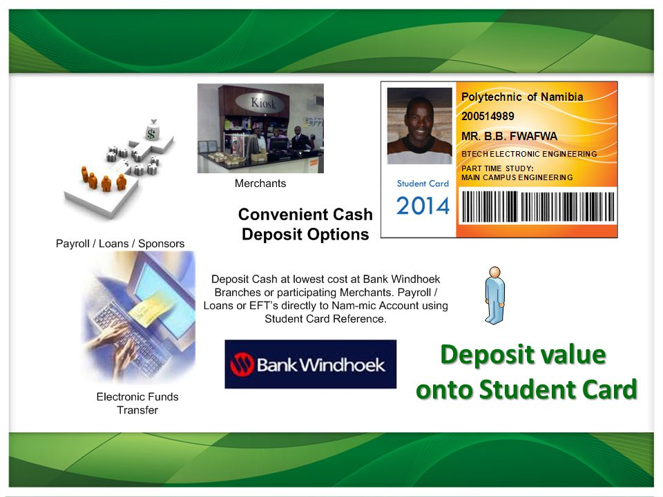 Deposit value onto Student Card onto Student Card