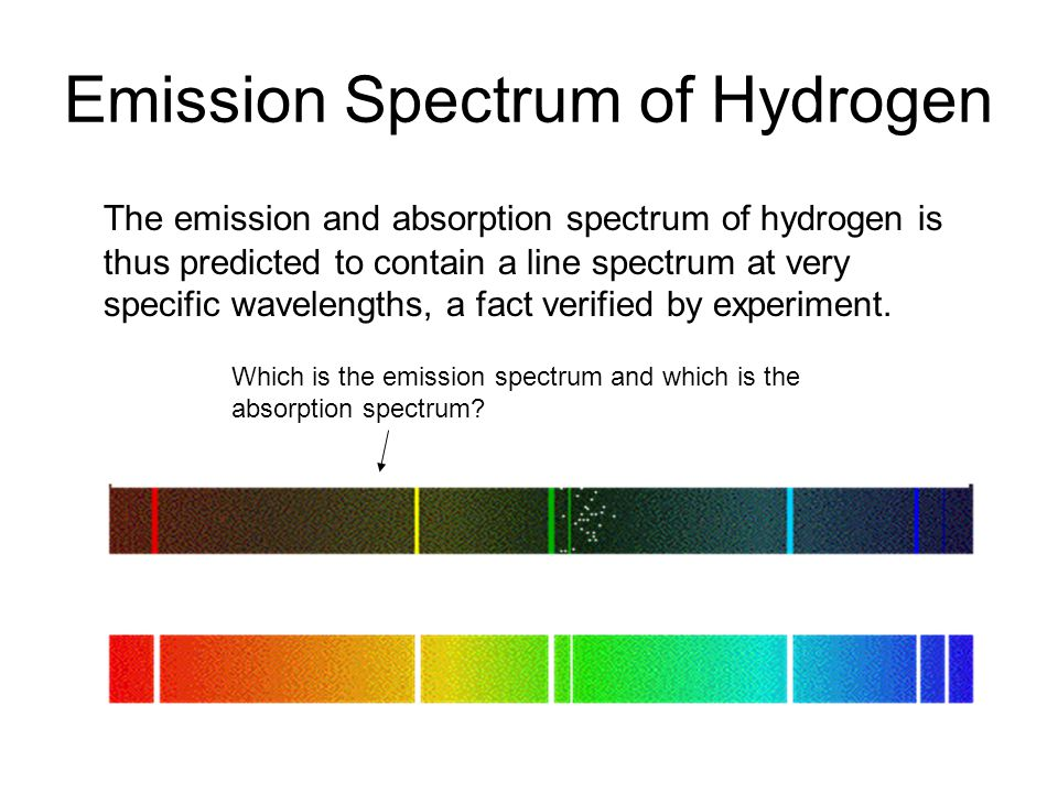 Emission Spectrum of Hydrogen Which is the emission spectrum and which is the absorption spectrum.
