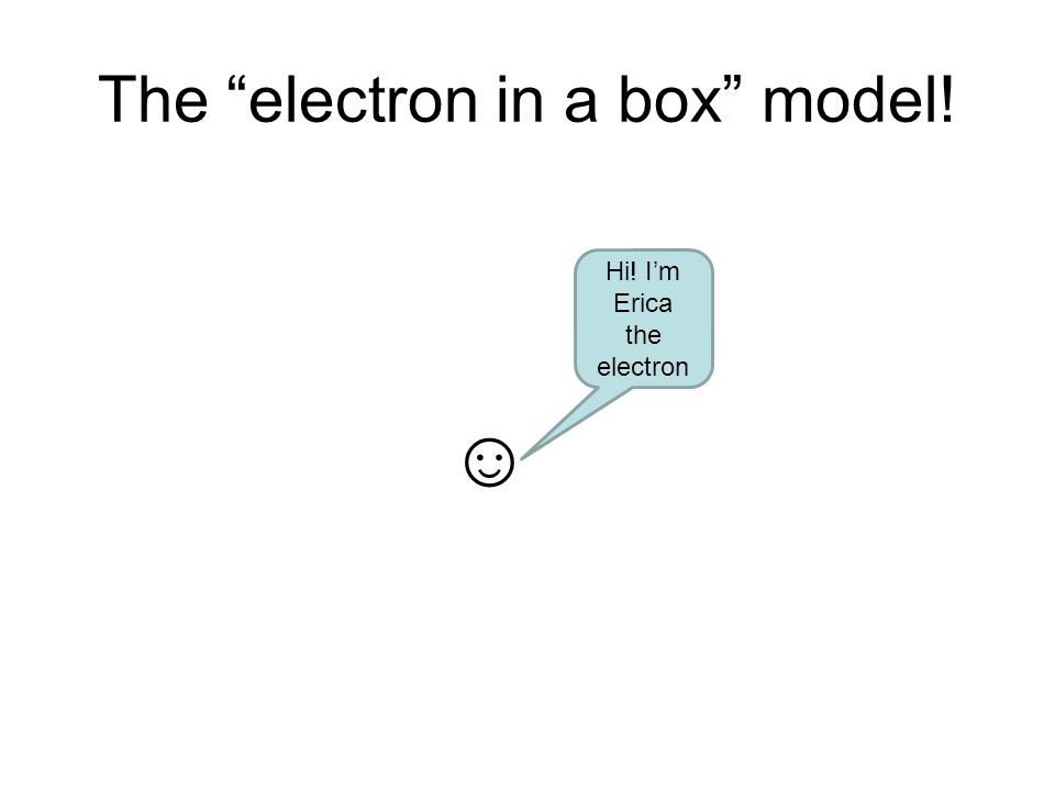 The electron in a box model! Hi! Im Erica the electron