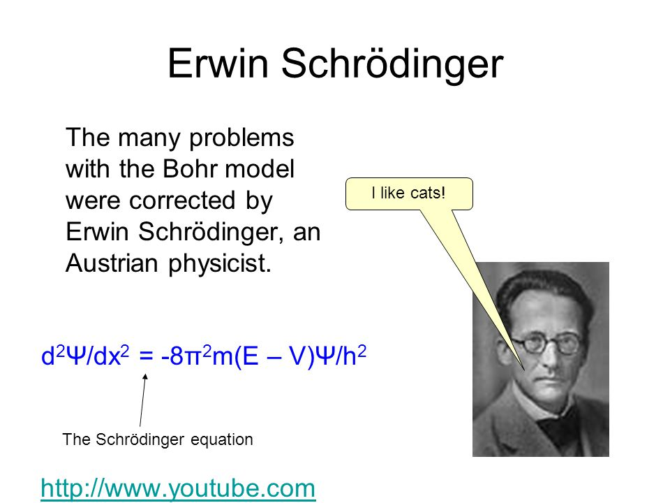 Erwin Schrödinger The many problems with the Bohr model were corrected by Erwin Schrödinger, an Austrian physicist. http://www.youtube.com /watch?v=IO