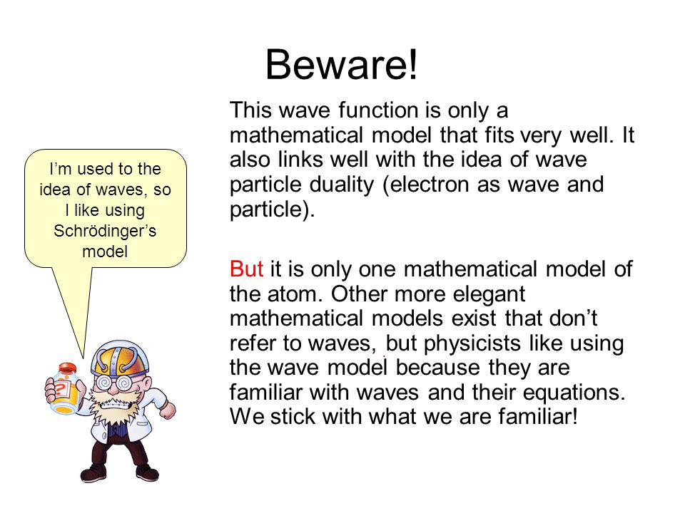 Beware. This wave function is only a mathematical model that fits very well.