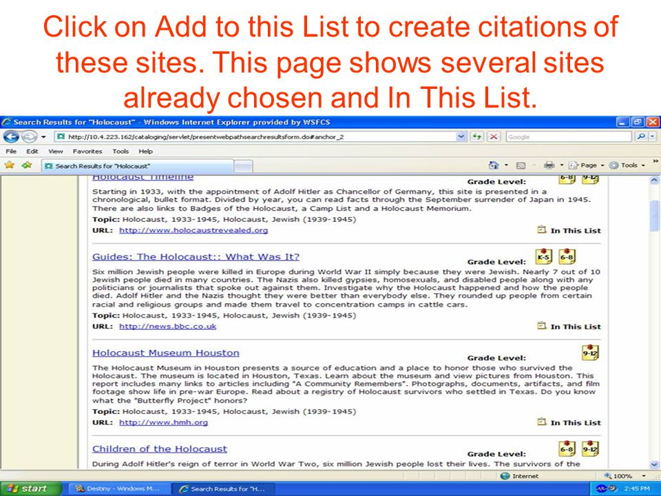 Click on Add to this List to create citations of these sites.