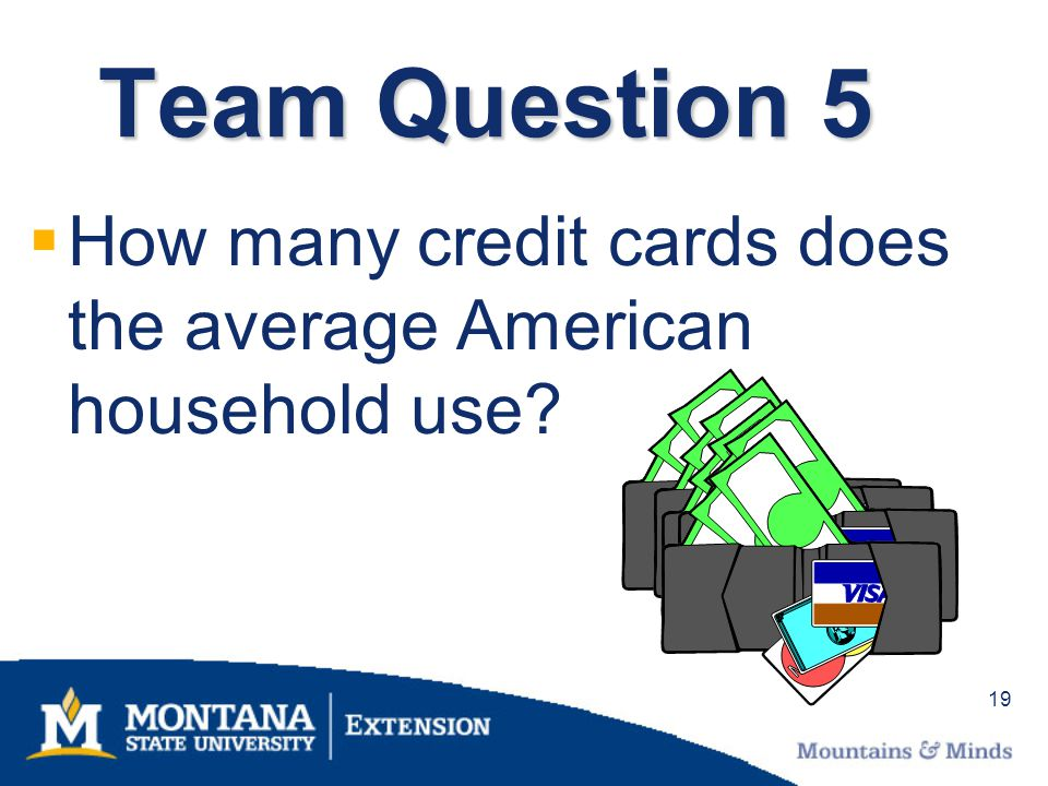 19 Team Question 5 How many credit cards does the average American household use?