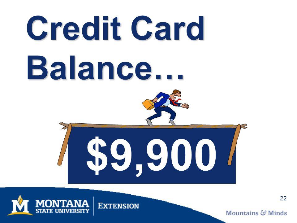 22 Credit Card Balance… $9,900